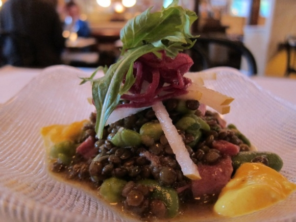 SSPNY had a terrific supper at Lafayette with a huge list of things to try on their appealing menu, starting with a hefty hillock of chewy and bright Spring Lentils, with chunks of tender tongue and infused with the Indian-food-spice vadouvan for only $8.