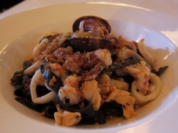 SSPNY next opts out of the entrees and tries one of Lafayette's half-dozen handmade pastas, ordering the Black Fettuccine, chopped full of squid, lobster, scallops, clams and more, on top of ground chorizo, which tastes like eating a big bowl of summer.