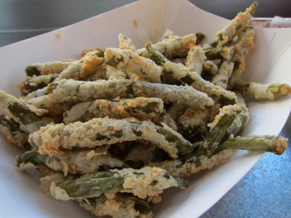 SSPNY even loads on the sides, trying Blue Ribbon Fried Chicken's Fried Dilly Beans, which come as a huge portion of these somewhat sweet, green bean-ish munchies, as well as an order of the thin, salty, potato Fries.