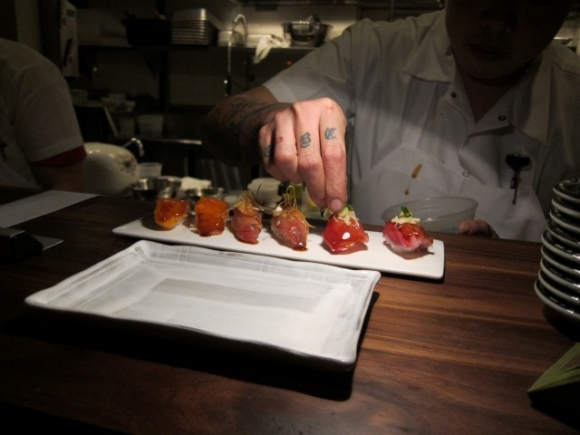 "SSPNY snags a sushi-counter seat at Chez Sardine to try out a few dishes of Stulman and Chef Mehdi Brunet-Benkritly's Japanese-ish menu options including the Pork and Unagi Hand Roll from the menu's ""snack"" section."