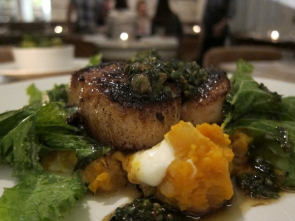 SSPNY insists everything on The Fat Radish's menu is great, including the complimentary plate of fat radishes they bring to your table at the beginning of the meal and ordering an entree of four plump Montauk Diver Scallops