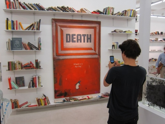"SSPNY loves Harland Miller's ""Penguin Classic"", Death: What's in it for me?, as we explore all manners of printed materials, with an ensemble of 37 terrific artists."