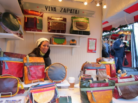 SSPNY lastly tries out one of the many booths making bags and wallets hosted by Viva Zapata who uses recycled bicycle-tire bags and color-block designs that are 100% vegan, using vinyl instead of leather